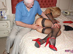 Crossdresser Kim gets her tight ass punished by a mature gent and his toy collection.